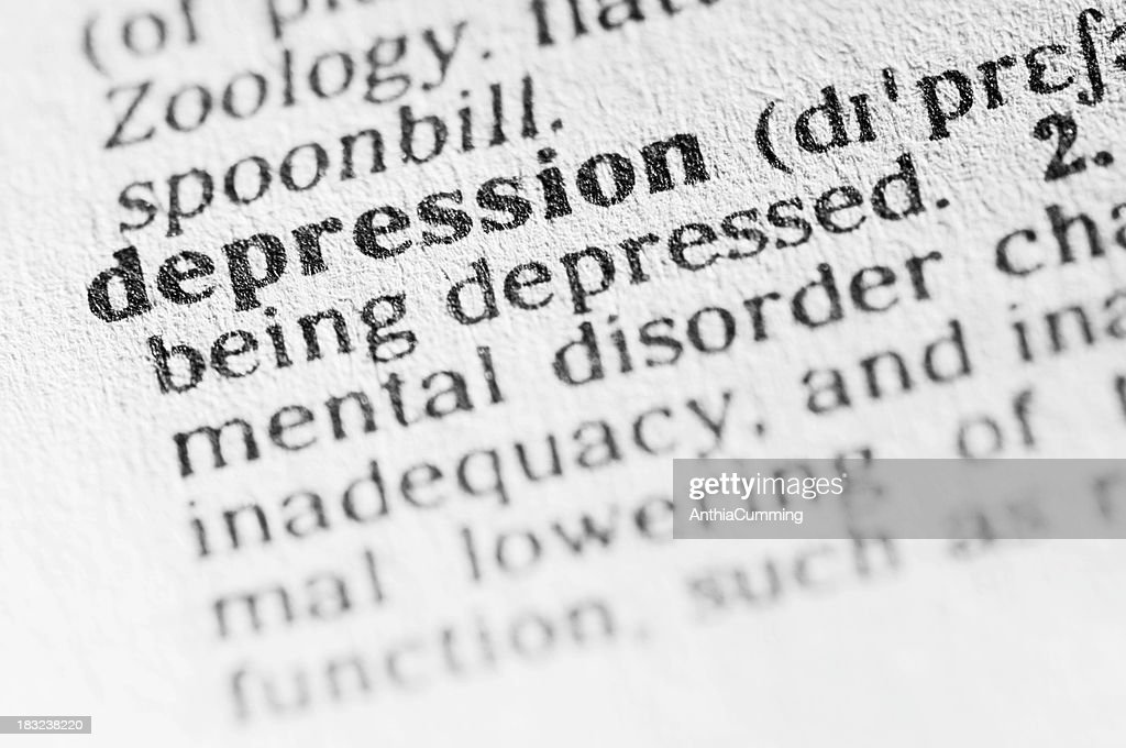 Exceptional Dictionary Definition Of Depression In Black Type : Stock Photo