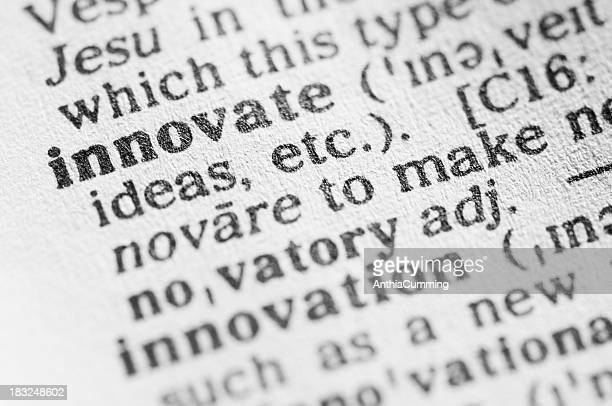 dictionary definition of innovate in black type - single word stock pictures, royalty-free photos & images