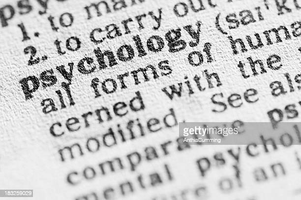 Dictionary definition of psychology in black type