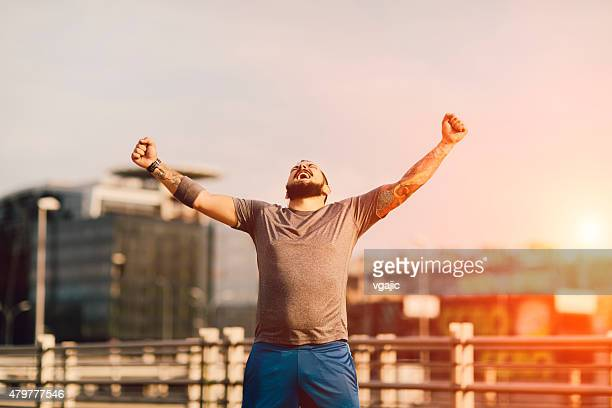 i did it! - chubby men stock photos and pictures