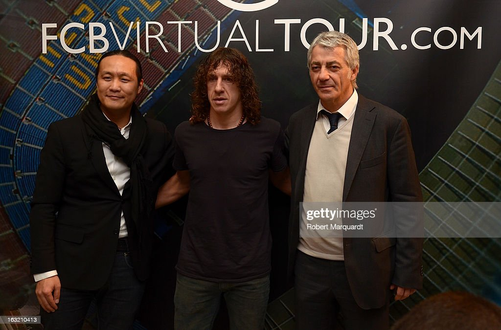 Didac Lee, Carles Puyol and Salvador Garcia attend the press presentation of the 'FCBVirtualTour' at Camp Nou on March 6, 2013 in Barcelona, Spain. The online virtual tour will allow users to view and interact with digital content of the Barcelona Football Club facilities.