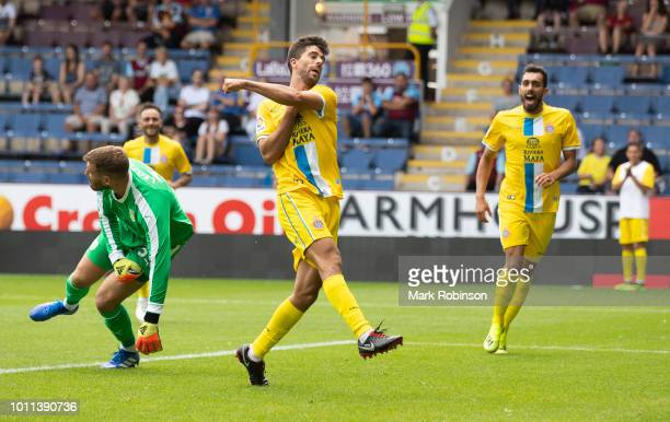 Didac of Espanyol celebrates scoring during the pre season friendly match between Burnley and Espanyol at Turf Moor on August 5 2018 in Burnley...