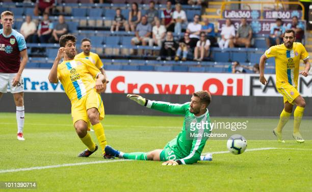 Didac of Espanyol scores during the pre season friendly match between Burnley and Espanyol at Turf Moor on August 5 2018 in Burnley England