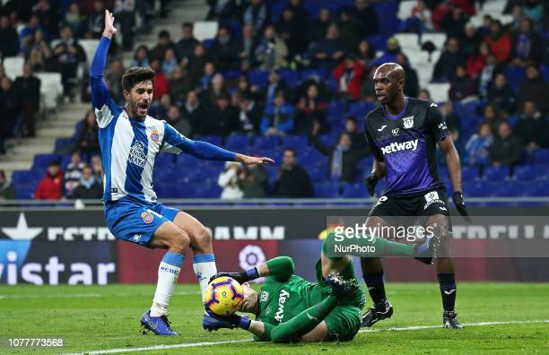 Didac Vila Cuellar and Nyom during the match between RCD Espanyol and CD Leganes corresponding to the week 18 of the Liga Santander played at the...