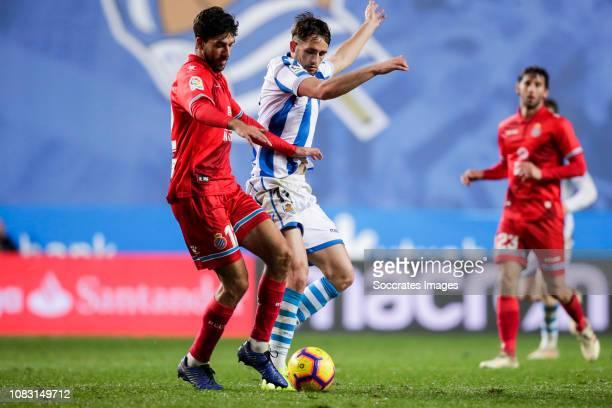 Didac Vila of Espanyol Januzaj of Real Sociedad during the La Liga Santander match between Real Sociedad v Espanyol at the Estadio Anoeta on January...