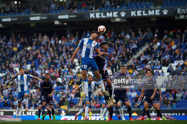 Didac Vila of RCD Espanyol and Anuar Mohamed of Real Valladolid CF compete for a high ball during the La Liga match between RCD Espanyol and Real...