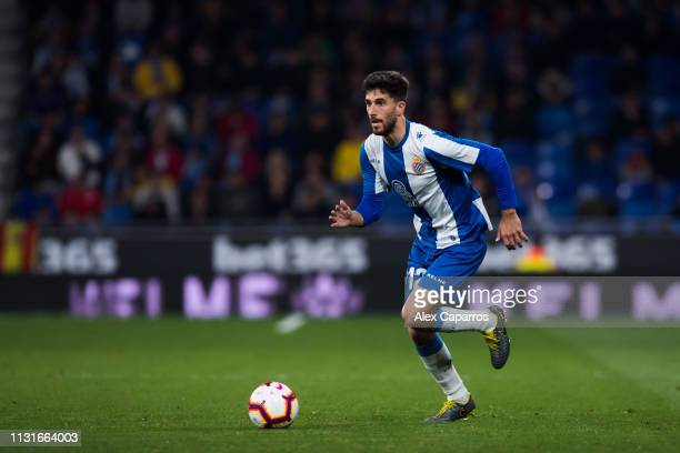 Didac Vila of RCD Espanyol conducts the ball during the La Liga match between RCD Espanyol and SD Huesca at RCDE Stadium on February 22 2019 in...