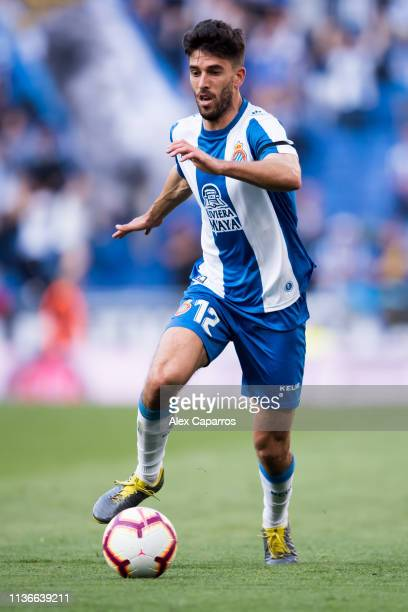 Didac Vila of RCD Espanyol conducts the ball during the La Liga match between RCD Espanyol and Sevilla FC at RCDE Stadium on March 17 2019 in...