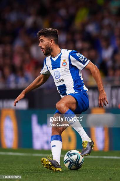 Didac Vila of RCD Espanyol controls the ball during the UEFA Europa League Play Off match between Espanyol and Zoryan Luhansk at RCDE Stadium on...