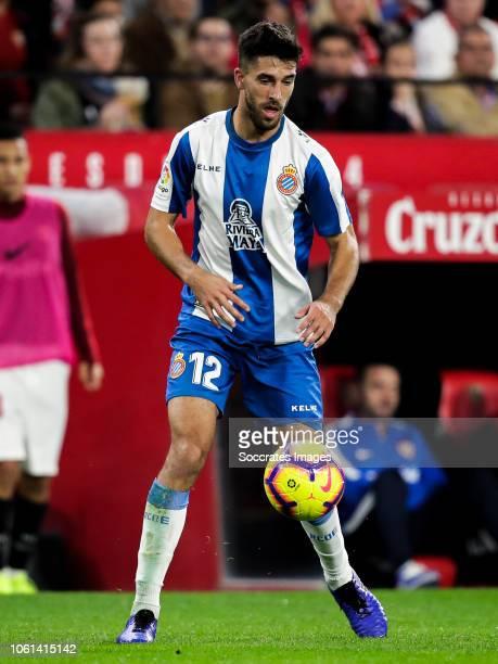 Didac Vila of RCD Espanyol during the La Liga Santander match between Sevilla v Espanyol at the Estadio Ramon Sanchez Pizjuan on November 11 2018 in...