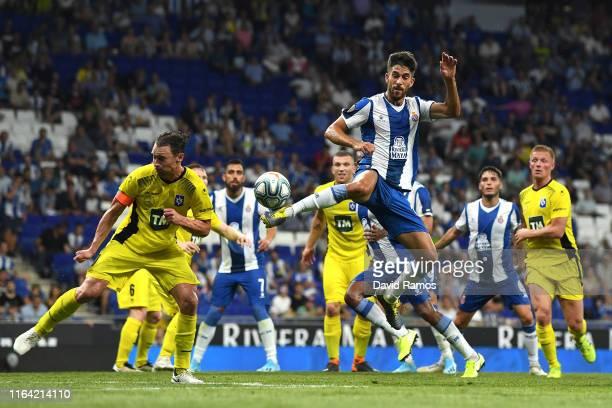 Didac Vila of RCD Espanyol kicks the ball during the UEFA Europa League Second Qualifying round 1st leg match between RCD Espanyol and Stjarnan at...