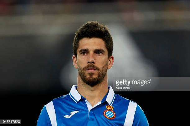 Didac Vila of RCD Espanyol looks on prior to the La Liga game between Valencia CF and RCD Espanyol at Mestalla on April 8 2018 in Valencia Spain