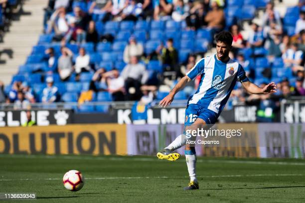 Didac Vila of RCD Espanyol plays the ball during the La Liga match between RCD Espanyol and Sevilla FC at RCDE Stadium on March 17 2019 in Barcelona...