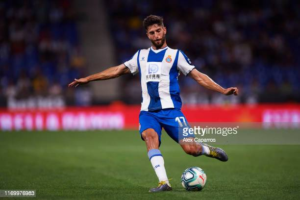 Didac Vila of RCD Espanyol plays the ball during the UEFA Europa League Play Off match between Espanyol and Zoryan Luhansk at RCDE Stadium on August...
