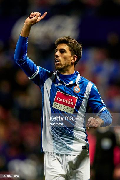 Didac Vila of RCD Espanyol reacts during the Copa del Rey Round of 16 second leg game between Levante UD and RCD Espanyol at Ciutat de Valencia...