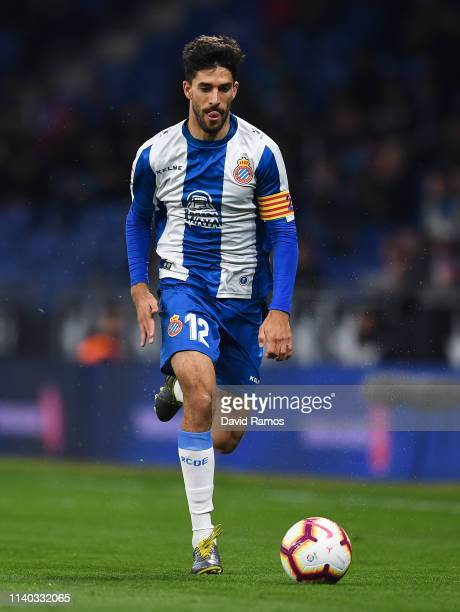 Didac Vila of RCD Espanyol runs with the ball during the La Liga match between RCD Espanyol and Getafe CF at RCDE Stadium on April 02 2019 in...