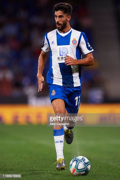 Didac Vila of RCD Espanyol runs with the ball during the UEFA Europa League Play Off match between Espanyol and Zoryan Luhansk at RCDE Stadium on...