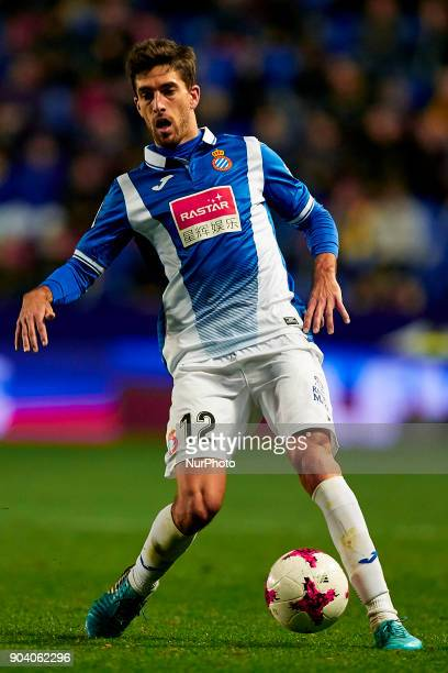 Didac Vila of RCD Espanyol with the ball during the Copa del Rey Round of 16 second leg game between Levante UD and RCD Espanyol at Ciutat de...