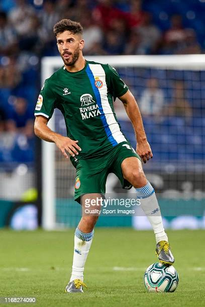 Didac Vila of RCD Espanyol with the ball during the UEFA Europa League Third Qualifying Round Second Leg match between RCD Espanyol and Luzern at on...