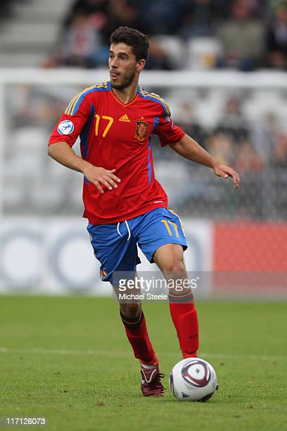 Didac Vila of Spain during the UEFA European Under21 Championship semifinal match between Belarus and Spain at the Viborg Stadium on June 22 2011 in...