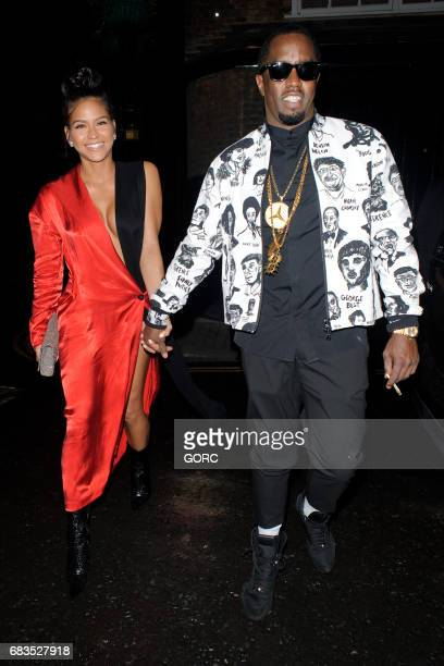 Diddy and Cassie Ventura arriving at Umu restaurant in Mayfair on May 15 2017 in London England