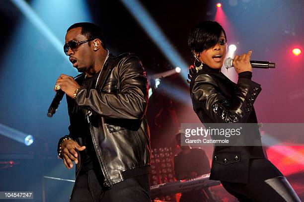 Diddy and Dawn Richard of DiddyDirty Money perform during 'MTV Crashes Glasgow headlined by DiddyDirty Money' at The Old Fruit Market on September 29...
