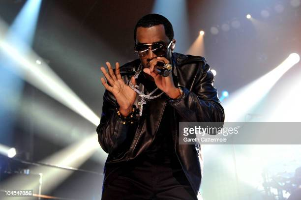 Diddy and Diddy-Dirty Money perform during 'MTV Crashes Glasgow - headlined by Diddy-Dirty Money' at The Old Fruit Market on September 29, 2010 in...