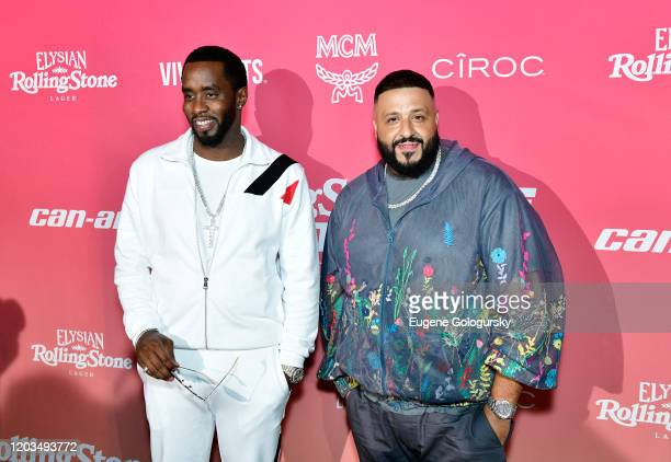 Diddy and DJ Khaled attend the MCM x Rolling PreSuper Bowl Event at SLS Miami on February 02 2020 in Miami Florida