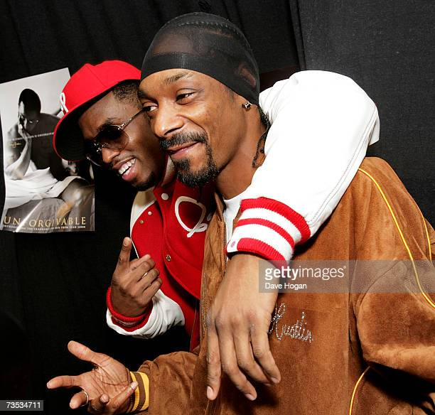Diddy and Snoop Dogg attend a press conference to promote the P. Diddy and Snoop Dogg European Tour, held at the Hartwall Areena on March 9, 2007 in...