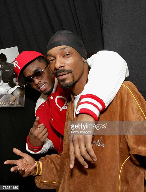 Diddy and Snoop Dogg pose during a press conference to promote the P. Diddy and Snoop Dogg European Tour, held at the Hartwall Areena on March 9,...