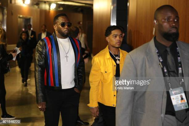Diddy arrives to the arena during the NBA AllStar Game as a part of 2018 NBA AllStar Weekend at STAPLES Center on February 18 2018 in Los Angeles...
