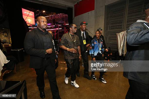 Diddy exits after the 2014 State Farm Saturday Night on February 15 2014 at the Smoothie King Center in New Orleans Louisiana NOTE TO USER User...