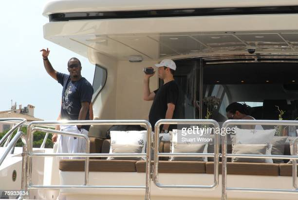 Diddy is seen aboard his yacht in St Tropez Harbor on August 02 2007 in St Tropez France