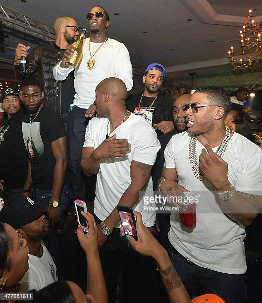 Diddy Jim Jones and Nelly attend the Charlotte Takeover at Sheraton Charlotte Hotel on March 1 2014 in Charlotte North Carolina