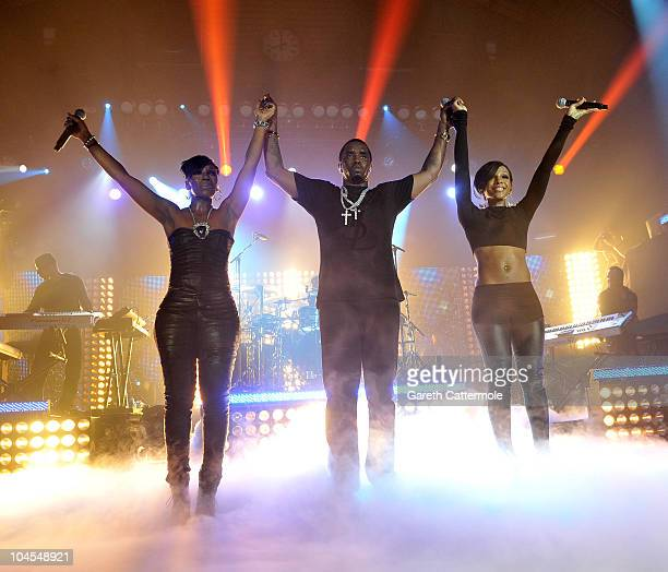 P Diddy Kaleena and Dawn Richard of DiddyDirty Money perform during 'MTV Crashes Glasgow headlined by DiddyDirty Money' at The Old Fruit Market on...
