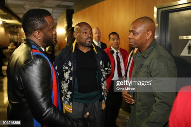 Diddy talks with Dave Chappelle during the NBA AllStar Game as a part of 2018 NBA AllStar Weekend at STAPLES Center on February 18 2018 in Los...