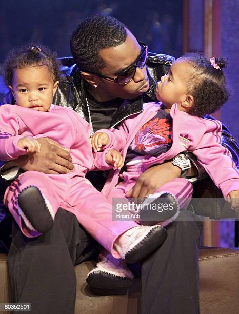 Diddy with his twins D'Lila Star and Jessie James at MTV's Making the Band 4 Season Finale at MTV Studios in Times Square on March 22 in New York City