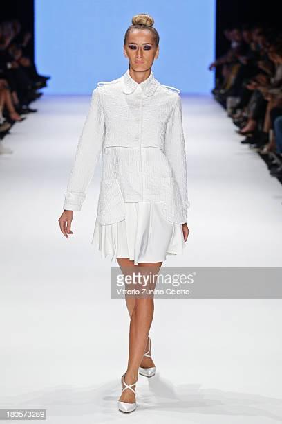 Didem Soydan walks the runway at the Kaf Dan By Elaidi show during MercedesBenz Fashion Week Istanbul s/s 2014 presented by American Express on...