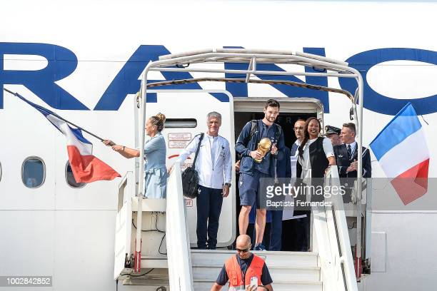 Dider Deschamps head coach Hugo Lloris and Laura Flessel French Sport Minister during the arrival at Airport Roissy Charles de Gaulle on July 16 2018...