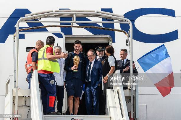 Dider Deschamps head coach Hugo Lloris Noel Le Graet President of French Federation and Laura Flessel French Sport Minister during the arrival at...
