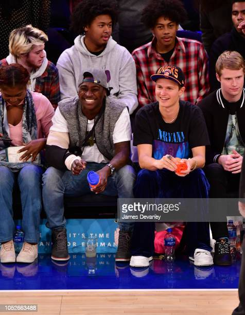 Didi Gregorius and Ansel Elgort attend the New York Knicks vs Boston Celtics game at Madison Square Garden on October 20 2018 in New York City