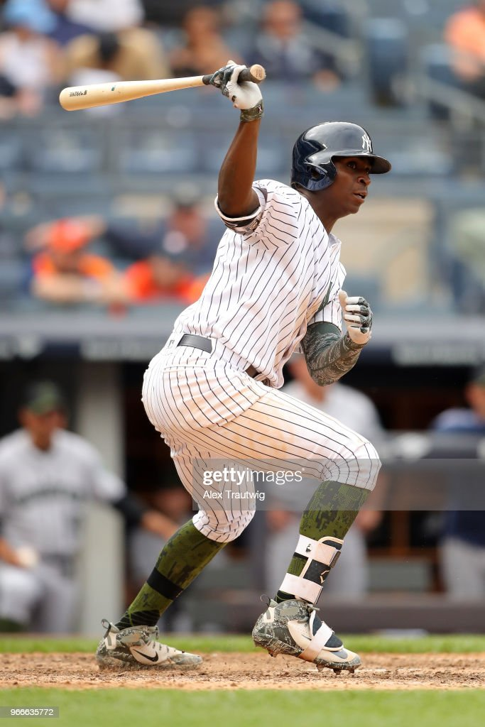 Didi Gregorius #18 of the New York Yankees bats during a game against the Houston Astros at Yankee Stadium on Monday, May 28, 2018 in the Bronx borough of New York City.
