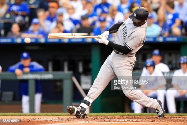 Didi Gregorius of the New York Yankees breaks his bat on a ground out during the second inning at Kauffman Stadium on May 16, 2017 in Kansas City,...