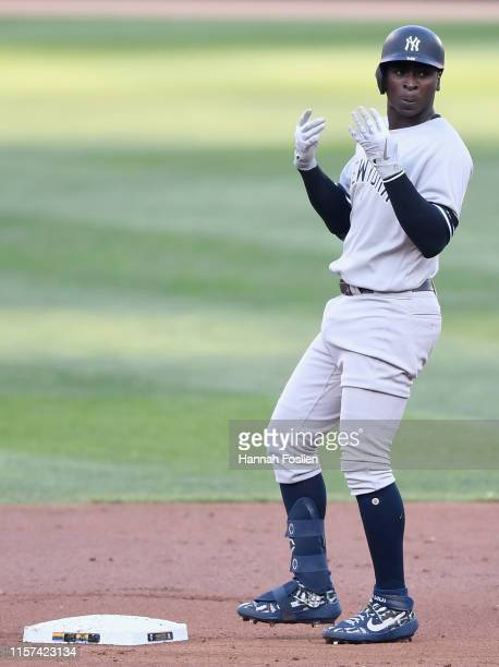 Didi Gregorius of the New York Yankees celebrates a two-run double against the Minnesota Twins during the first inning of the game on July 23, 2019...