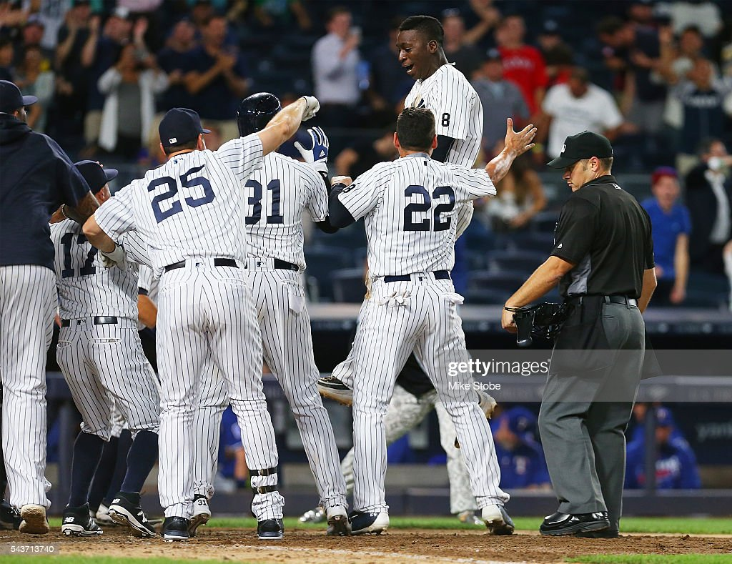 Didi Gregorius #18 of the New York Yankees celebrates after hitting a game winning two-run home run in the bottom of the ninth inning against the Texas Rangers at Yankee Stadium on June 29, 2016 in the Bronx borough of New York City. Yankees defeated the Rangers 9-7
