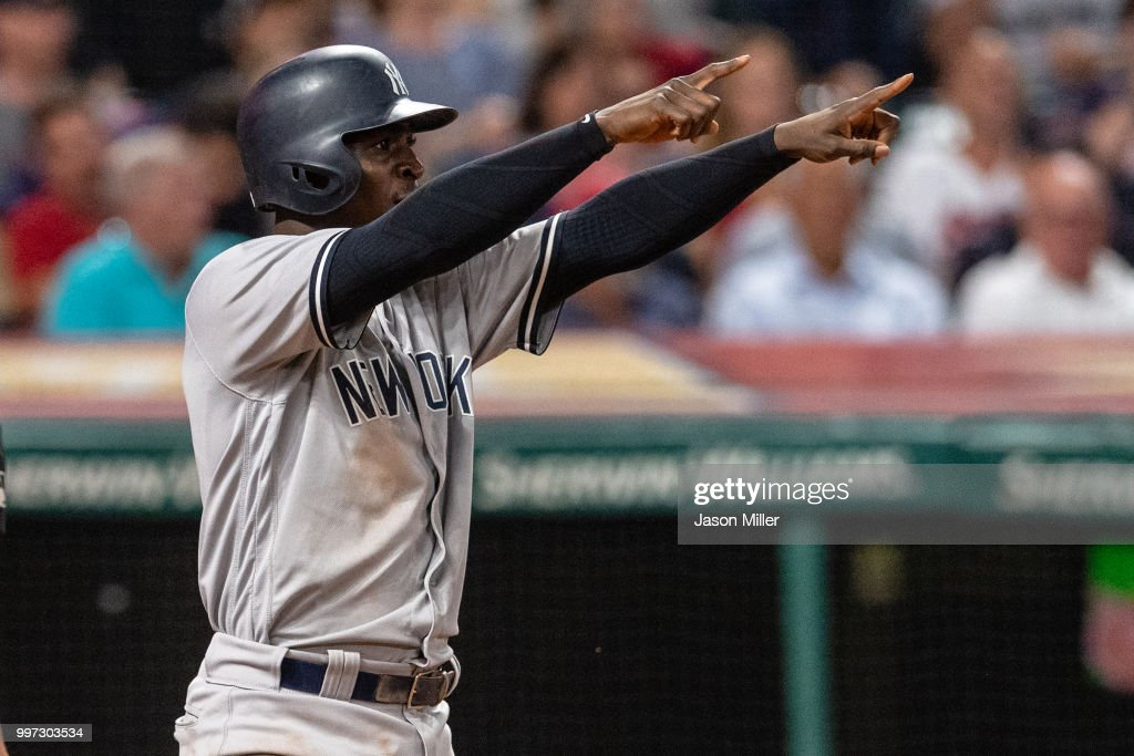 Didi Gregorius #18 of the New York Yankees celebrates after scoring to take the lead off a double by Aaron Hicks #31 during the eighth inning against the Cleveland Indians at Progressive Field on July 12, 2018 in Cleveland, Ohio.