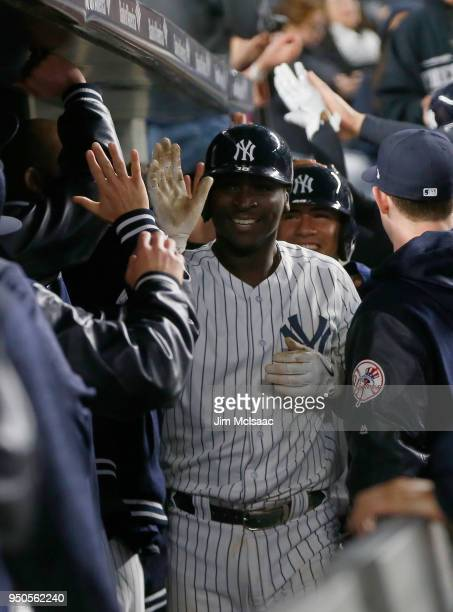 Didi Gregorius of the New York Yankees celebrates his eighth inning grand slam home run against the Minnesota Twins at Yankee Stadium on April 23...