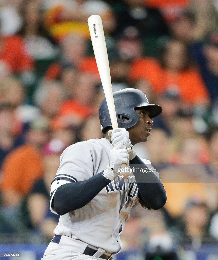 Didi Gregorius #18 of the New York Yankees doubles in the ninth inning against the Houston Astros at Minute Maid Park on May 1, 2018 in Houston, Texas.