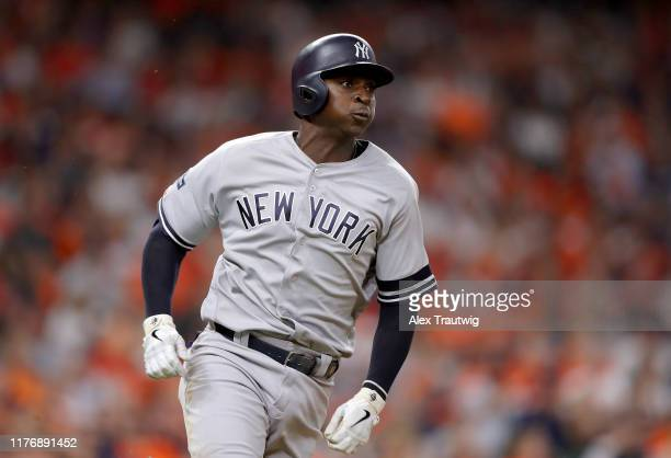 Didi Gregorius of the New York Yankees doubles in the second inning of Game 6 of the ALCS between the New York Yankees and the Houston Astros at...