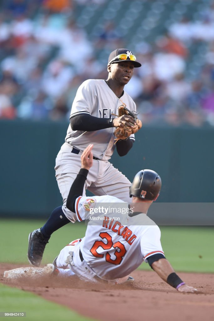 Didi Gregorius #18 of the New York Yankees forces out Joey Rickard #23 of the Baltimore Orioles on a ground ball hit double play host by Trey Mancini #16 (not pictured) during a game one of a doubleheader baseball game at Oriole Park at Camden Yards on July 9, 2018 in Baltimore, Maryland.